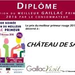Diplôme du Meilleur Gaillac Primeur - Château de Saurs